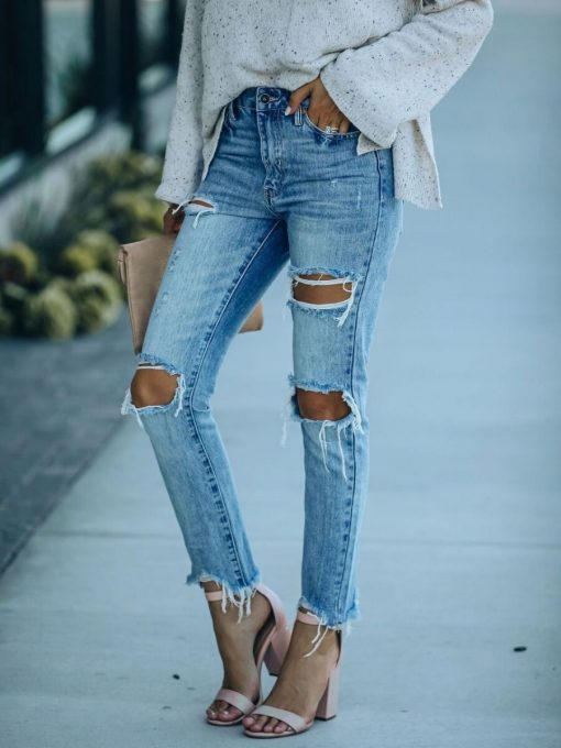 Straight Leg Ripped Distressed Jeans