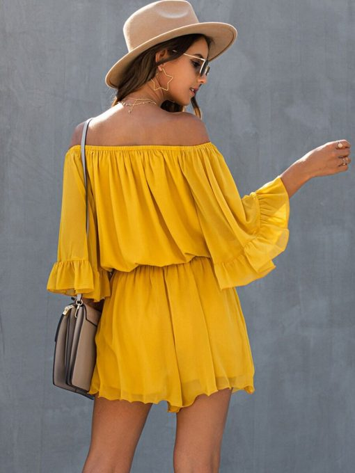 Off-shoulder Flare Sleeve Ruffle Romper Yellow