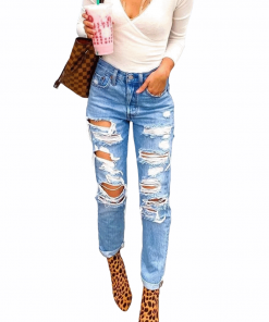 Low-rise Ripped Distressed Jeans Blue