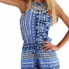 Flare Sleeve Fungus Trimmed Floral Romper
