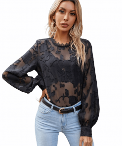 Bishop Sleeve Lace Neck Embroidery Blouse
