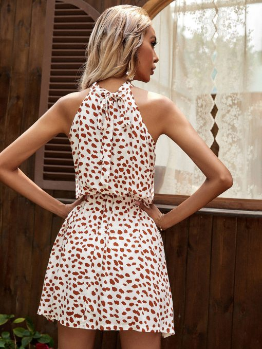 Rayon Printed Cold-Shoulder Sleeveless Halter Tied Dress White