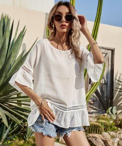 Casual Short-Sleeved Lace Top round Neck Women T-shirt White