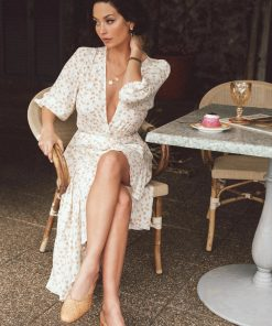 Summer Floral Waist Trimming Lace-up Long Sleeve Fishtail Dress