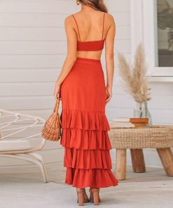Two-piece Suit Maxi Dress Women Red Split Party Backless Long Dress Elegant Casual Holiday Beach Dress Red