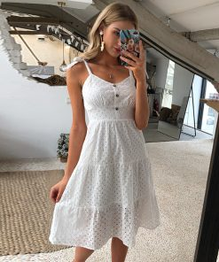 Casual Robe Dress Bow Shoulder Embroidery Hollow Out Dress Backless White